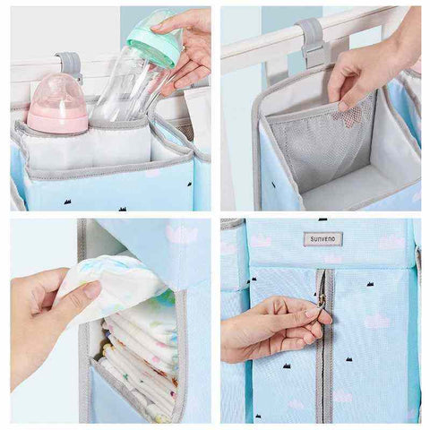 ALL THE COMPARTMENTS OF THE BABY CRIB HANGING STORAGE NURSERY ORGANIZER - I BABY CARRIER