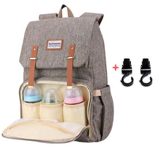Load image into Gallery viewer, Best Diaper Bag Backpack, The best backpack diaper bag, BEST BACKPACK TO USE AS DIAPER BAG, Diaper backpack for mom and dad, BROWN with stroller hooks  | I BABY CARRIER