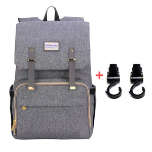 Best Diaper Bag Backpack, The best backpack diaper bag, BEST BACKPACK TO USE AS DIAPER BAG, Diaper backpack for mom and dad, GRAY with stroller hooks | I BABY CARRIER