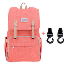 Load image into Gallery viewer, Best Diaper Bag Backpack, The best backpack diaper bag, BEST BACKPACK TO USE AS DIAPER BAG, Diaper backpack for mom and dad, PINK with stroller hooks | I BABY CARRIER