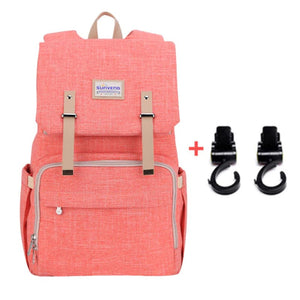 Best Diaper Bag Backpack, The best backpack diaper bag, BEST BACKPACK TO USE AS DIAPER BAG, Diaper backpack for mom and dad, PINK with stroller hooks | I BABY CARRIER