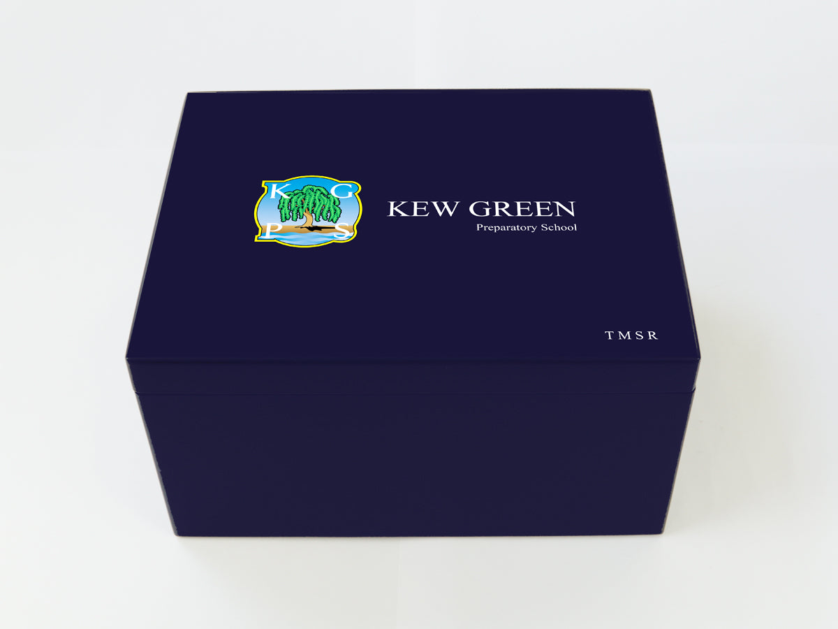 Kew Green School Memory Wood Box - A4 Chest - Dark Blue - Personalised