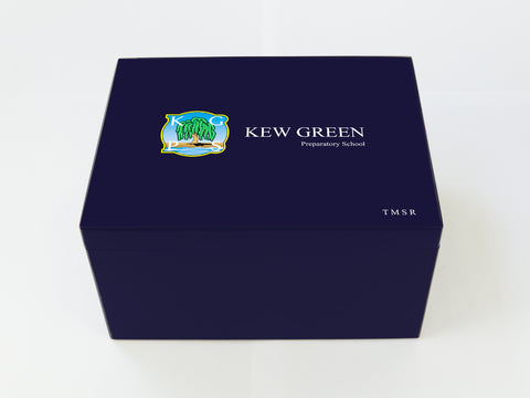 Personalised Kew Green School Memory Wood Box - A4 Chest - Dark Blue