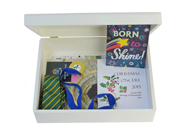 Ludgrove School Memory Wood Box - White - A4 box - Personalised