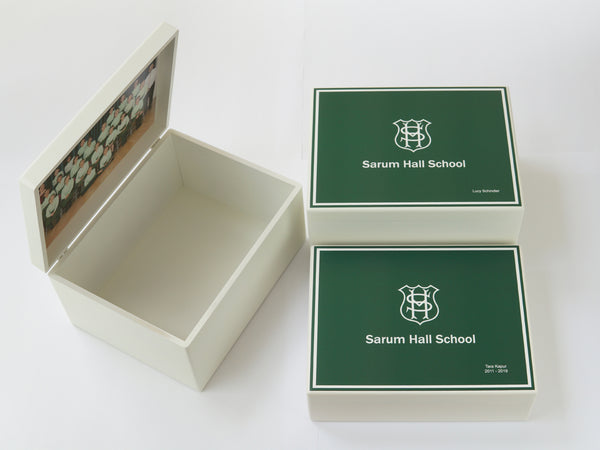 Sarum Hall School Memory Wood Box  - A4 Chest - Personalised