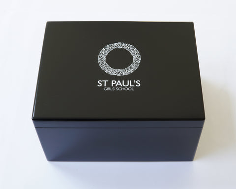 St Paul's Girls' School Memory Wood Box -  A4 Chest - Black - Personalised