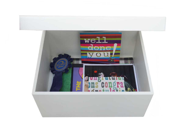 Orchard House School Memory Wood Box - A4 Chest - Dark blue top - Personalised