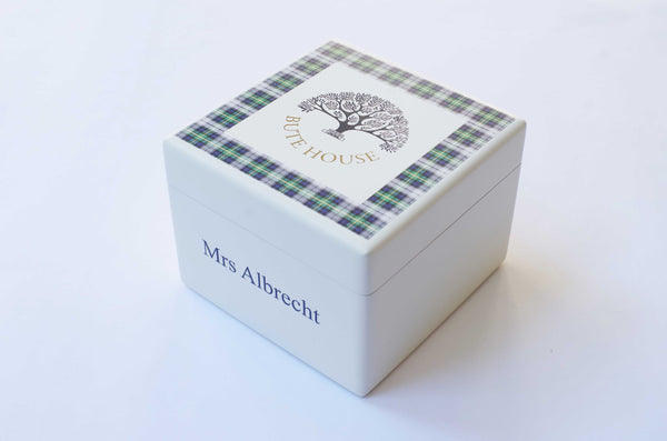 Small square Bute House School Memory wood box - Personalised