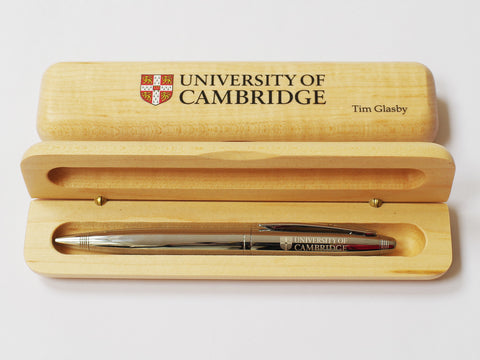 25 x Luxury Personalised Maple Pen Case with Crest| Logo (from £7 per case + VAT)