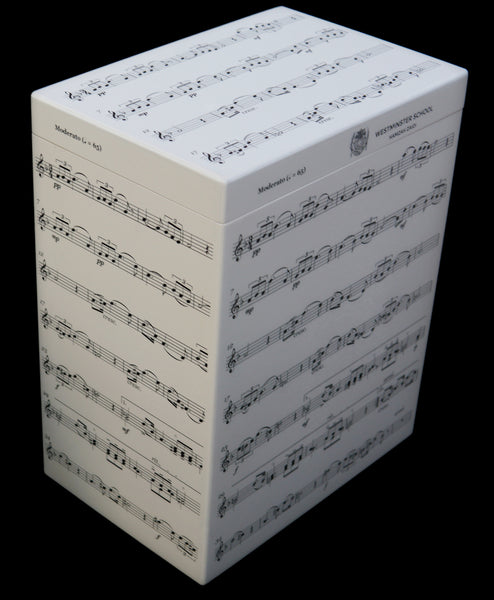 Personalised Westminster School Memory Wood Box - A4 Tall - with Music Notes design