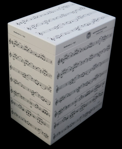 Westminster School Memory Wood Box - A4 Tall - Music notes - Personalised