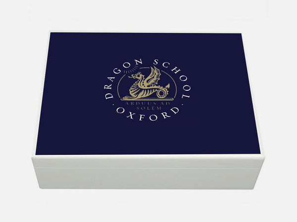 Dragon School School Memory Wood box  - A4 Box - blue top - Personalised