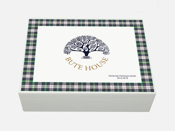 Large A4 Bute House School Memory Wood Box - Tartan - Personalised