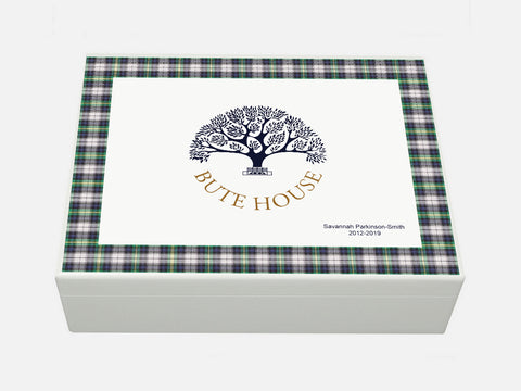 Bute House School Memory Wood Box - A4 - Tartan - Personalised