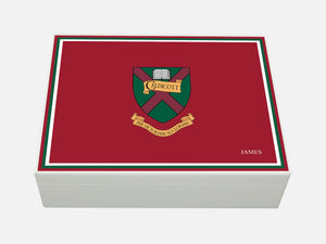 Caldicott School Memory Wood Box  - A4 Box - Maroon - Personalised