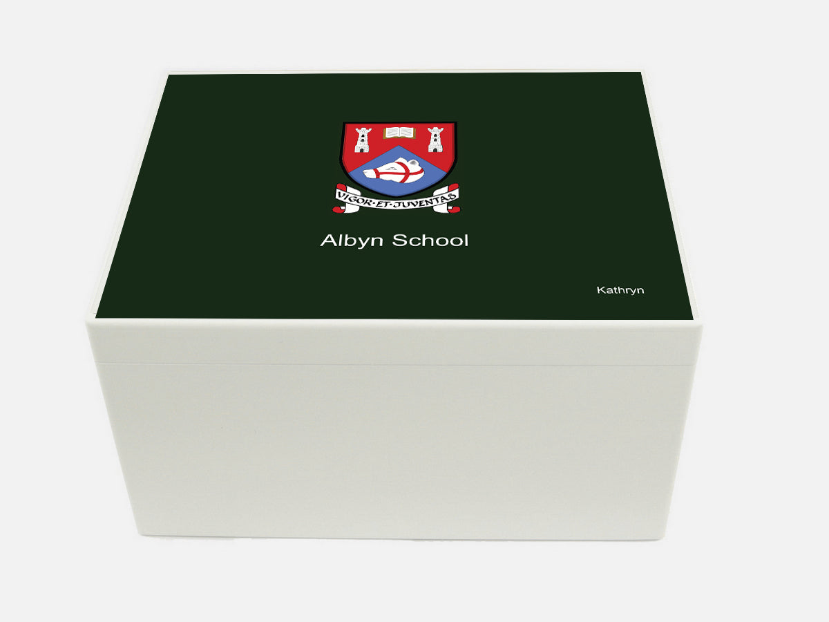 Albyn School Memory Wood box - A4 Chest - Personalised