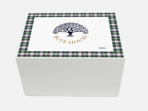Bute House School Memory Wood Box - A4 Chest - Tartan Top - Personalised