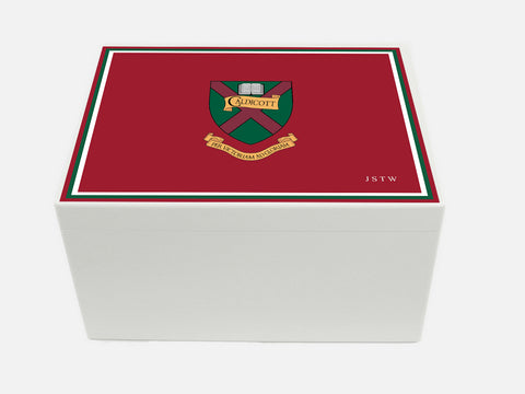 Caldicott School Memory Wood Box  - A4 Chest - Maroon - Personalised
