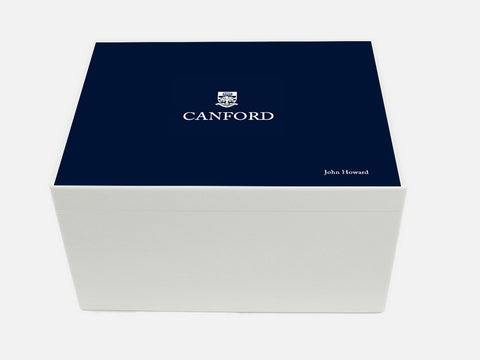 Canford School Memory Wood Box - A4 Chest - Personalised