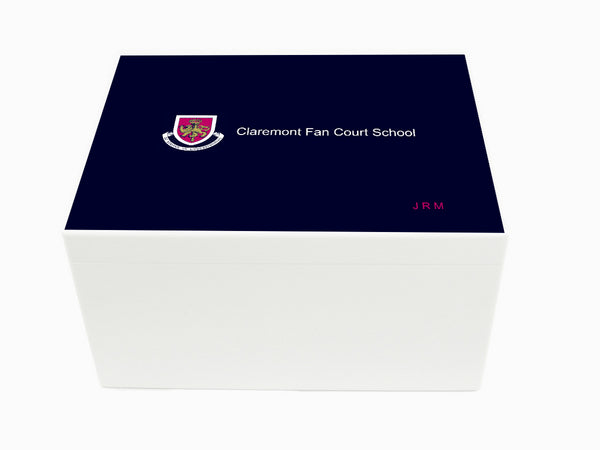 Claremont Fan Court School Memory Wood Box - A4 Chest - Personalised