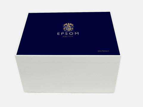 Personalised Epsom College School Memory Wood Box - A4 Chest