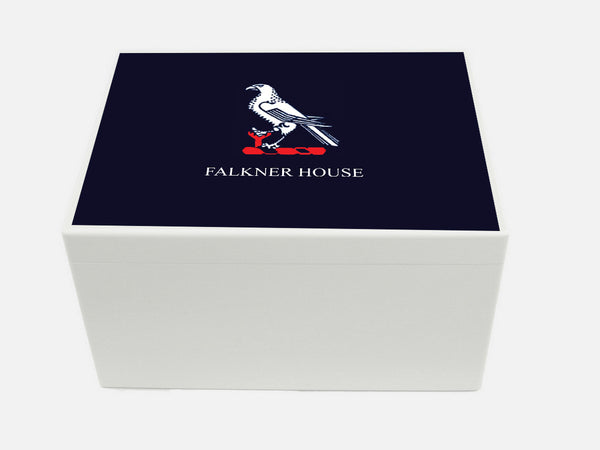 Falkner House School Memory Wood Box - A4 Chest - Blue top - Personalised