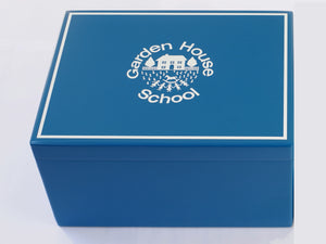 Garden House School Memory Wood Box  - A4 Chest - Teal - Personalised