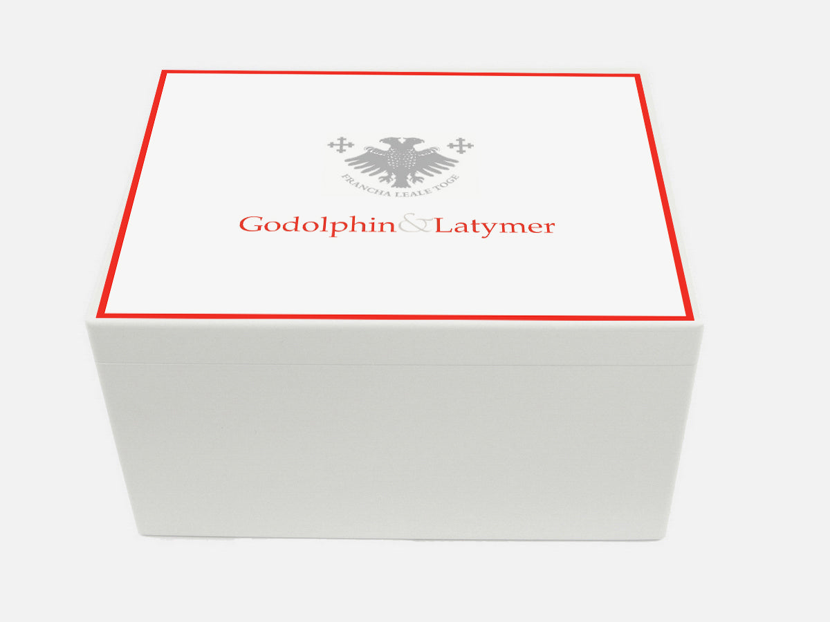 Godolphin & Latymer School Memory Wood Box - A4 Chest - White - Personalised