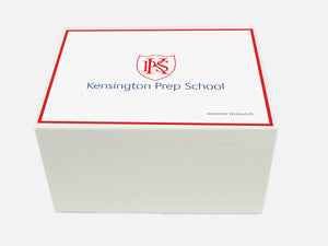 Kensington Prep School Memory Wood Box - A4 Chest - White - Personalised