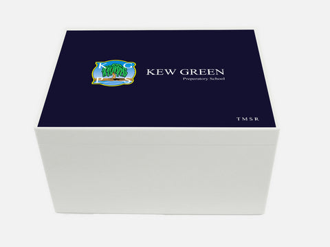 Personalised Kew Green School Memory Wood Box - A4 Chest - Dark Blue top