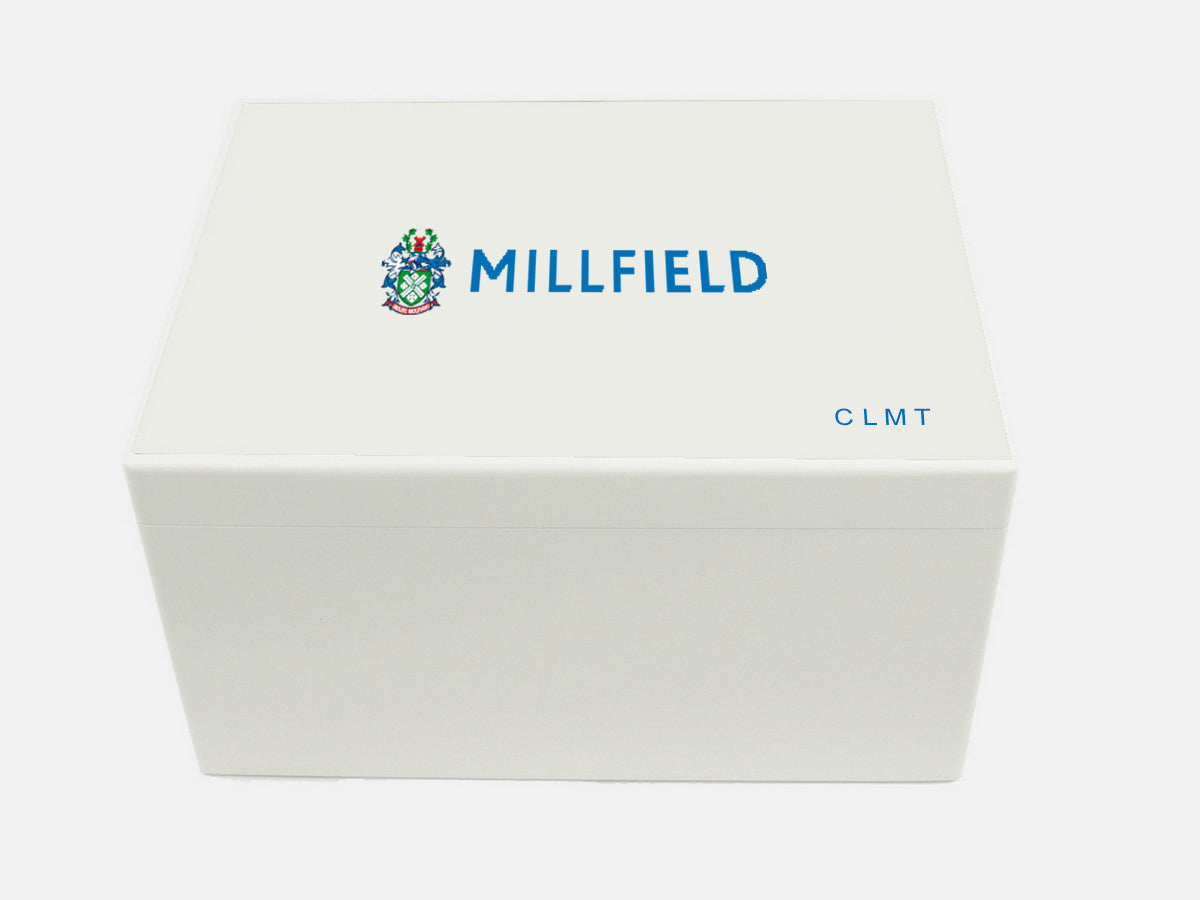 Millfield School Memory Wood Box - A4 Chest - White - Personalised