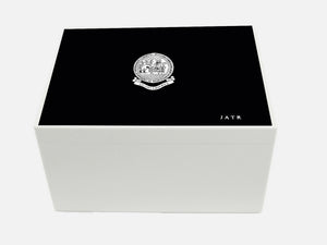 Oakham School Memory Wood Box - A4 Chest - Black - Personalised