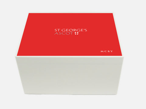 St George's Ascot School Memory Wood Box - A4 Chest - Red top - Personalised