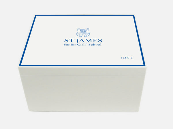 St James Girls School Memory Wood Box - A4 Chest - Personalised