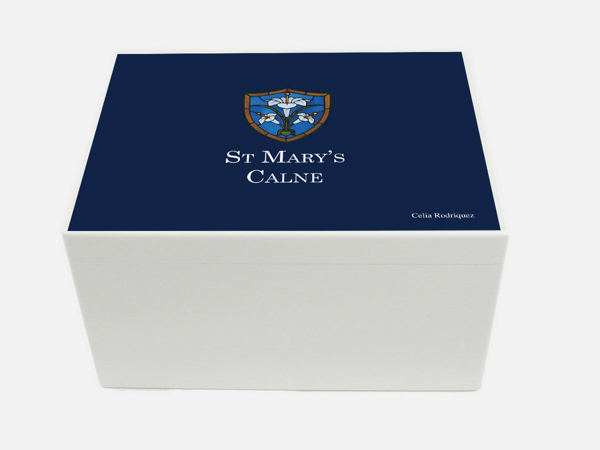 St Mary's Calne School Memory Wood Box - A4 Chest - Personalised