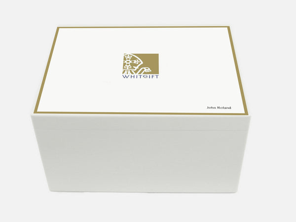 Whitgift School Memory Wood Box - A4 Chest - Personalised - White