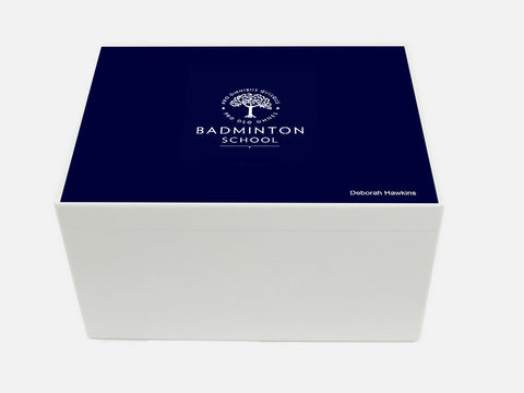 Badminton School Memory Wood Box - A4 Chest - Personalised