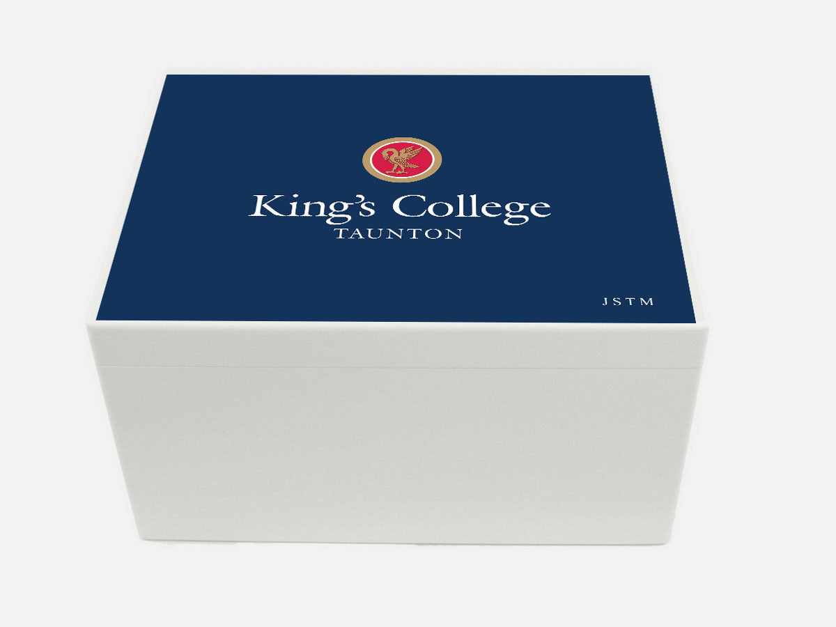 Kings College Taunton School Memory Wood Box  - A4 Chest - Personalised