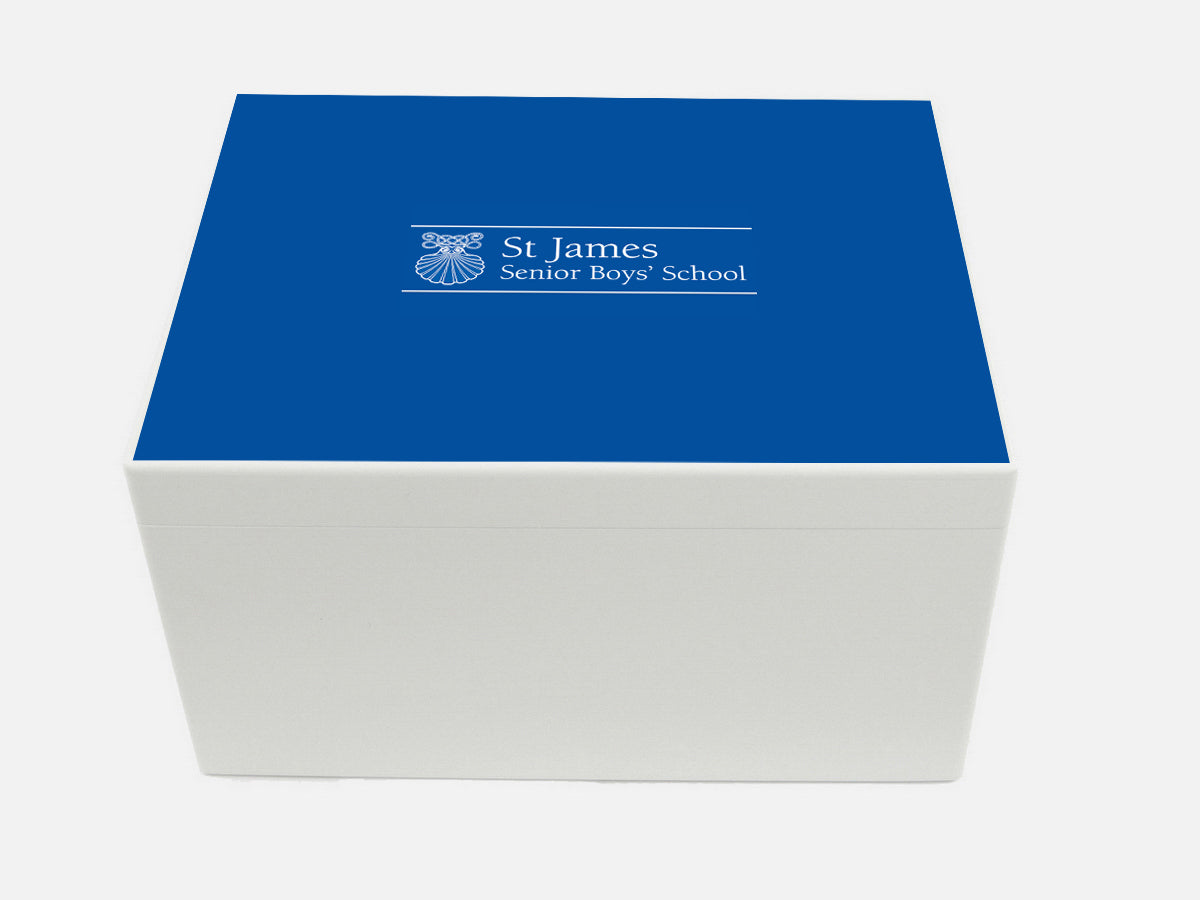 St James Boys Senior School Memory Wood Box - A4 Chest - Personalised