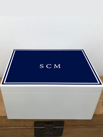 Extra Large A4 Size Colour Top (6 colours available) White Border White Wooden Chest  | Personalise with your initials or a name and your photo on the inside lid 335 x 260 x 180 mm