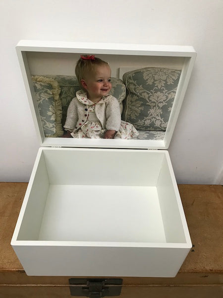 Extra Large Memory Box A4 Size White Wooden Chest  | Personalise with initials 335 x 260 x 180 mm