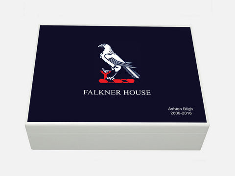 Falkner House School Memory Wood Box - A4 Box - Blue top - Personalised