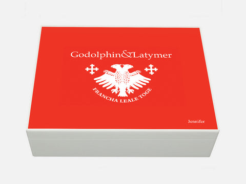 Godolphin & Latymer School Memory Wood Box - A4 Box - Red top - Personalised