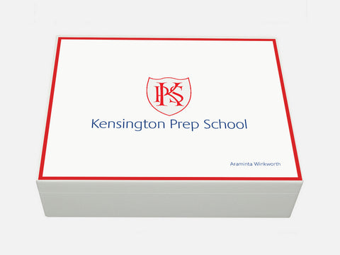 Kensington Prep School Memory Wood Box - A4 Box- White - Personalised