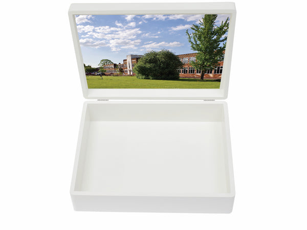 Lady Eleanor Holles (LEH) School Memory Wood Box - Personalise with a name - A4 box - Red top- 335 x 260 x 100 mm