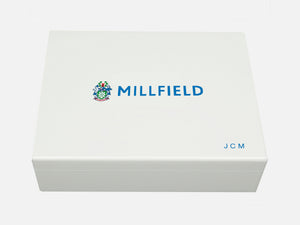 Millfield School Memory Wood Box - A4 box - White - Personalised