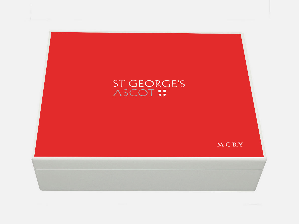 St Georges Ascot School Memory Wood Box - A4 box - Red top - Personalised