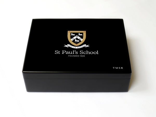 Senior School Logo - Personalised A4-sized St Paul's School Memory Wood Box - A4 box - Black