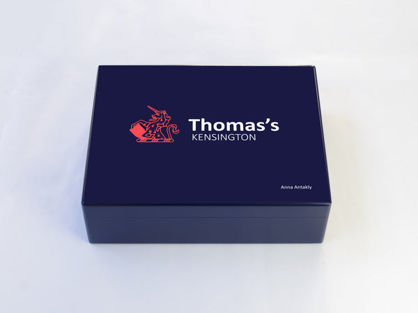 Thomas's Kensington School Memory Wood Box - A4 Box - Blue - Personalised
