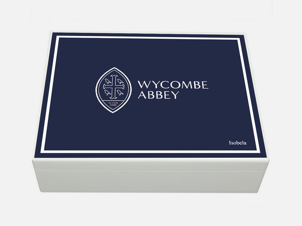 Luxury White A4 Document Wood Box with white border